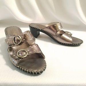La Plume Gold Metallic Buckle Sandals Kitten Heel